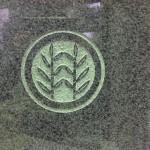 工場にて、西田共同墓地のお客様の水鉢に「丸に立ちよし」の家紋を彫りました。【静岡県焼津市 工場】