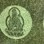工場にて、藤枝霊園のお客様のお墓に観音様を字彫りしました。【静岡県焼津市 工場】